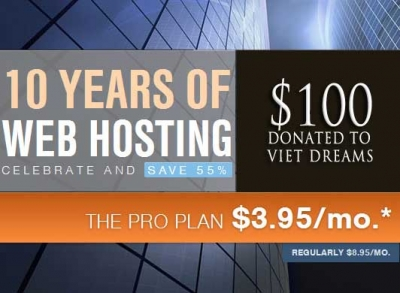 Buy a hosting package & $100 donated to Viet Dreams